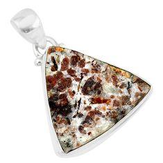12.22cts natural bronze astrophyllite (star leaf) 925 silver pendant r85978