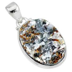 13.70cts natural bronze astrophyllite (star leaf) 925 silver pendant r85984