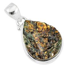 14.07cts natural bronze astrophyllite (star leaf) 925 silver pendant r85987