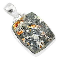 13.15cts natural bronze astrophyllite (star leaf) 925 silver pendant r85992