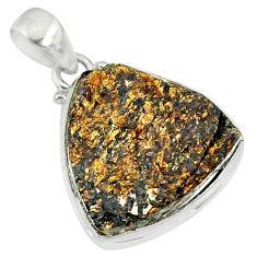 16.07cts natural bronze astrophyllite (star leaf) 925 silver pendant r86002