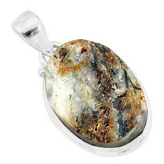 12.58cts natural bronze astrophyllite (star leaf) 925 silver pendant r86007
