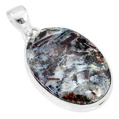 20.65cts natural bronze astrophyllite (star leaf) 925 silver pendant r95990