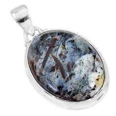 19.15cts natural bronze astrophyllite (star leaf) 925 silver pendant r95993