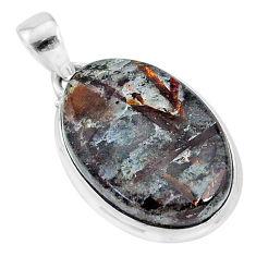 18.65cts natural bronze astrophyllite (star leaf) 925 silver pendant r95994