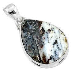 14.70cts natural bronze astrophyllite (star leaf) 925 silver pendant r95998