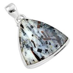17.20cts natural bronze astrophyllite (star leaf) 925 silver pendant r96003