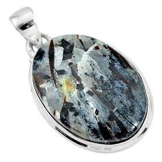 19.15cts natural bronze astrophyllite (star leaf) 925 silver pendant r96006