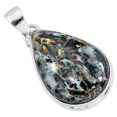 19.15cts natural bronze astrophyllite (star leaf) 925 silver pendant r96009