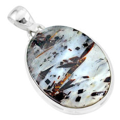 18.65cts natural bronze astrophyllite (star leaf) 925 silver pendant r96019