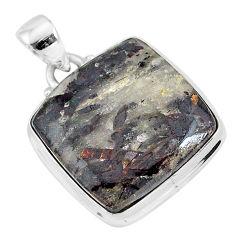 19.65cts natural bronze astrophyllite (star leaf) 925 silver pendant r96021
