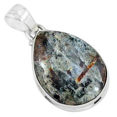 15.55cts natural bronze astrophyllite (star leaf) 925 silver pendant r96022