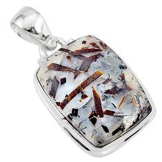 16.92cts natural bronze astrophyllite (star leaf) 925 silver pendant r96024