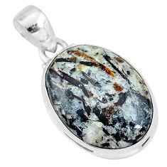 16.43cts natural bronze astrophyllite (star leaf) 925 silver pendant r96038