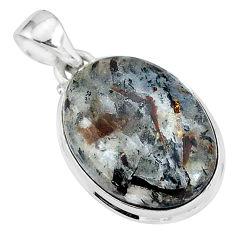 17.10cts natural bronze astrophyllite (star leaf) 925 silver pendant r96049