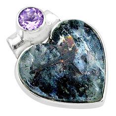 13.70cts natural bronze astrophyllite (star leaf) 925 silver pendant t13481