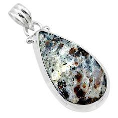 13.15cts natural bronze astrophyllite (star leaf) 925 silver pendant t22722