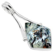 12.62cts natural bronze astrophyllite (star leaf) 925 silver pendant t22726