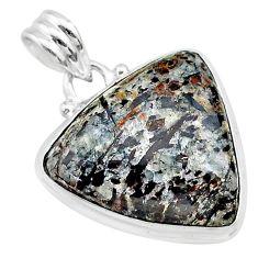 14.47cts natural bronze astrophyllite (star leaf) 925 silver pendant t22728