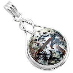 17.45cts natural bronze astrophyllite (star leaf) 925 silver pendant t22735