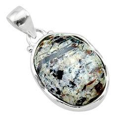 17.22cts natural bronze astrophyllite (star leaf) 925 silver pendant t22751