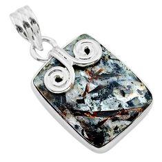 11.69cts natural bronze astrophyllite (star leaf) 925 silver pendant t22757