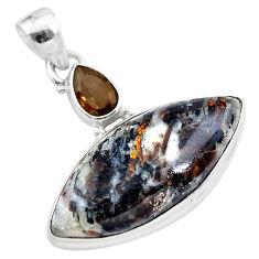 18.68cts natural bronze astrophyllite (star leaf) 925 silver pendant t28504