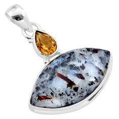 18.15cts natural bronze astrophyllite (star leaf) 925 silver pendant t28505