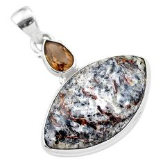18.15cts natural bronze astrophyllite (star leaf) 925 silver pendant t28530