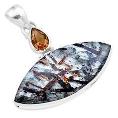 21.48cts natural bronze astrophyllite (star leaf) 925 silver pendant t28546