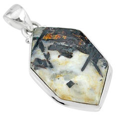17.45cts natural bronze astrophyllite (star leaf) fancy silver pendant r95969