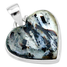 18.15cts natural bronze astrophyllite (star leaf) heart silver pendant t13371