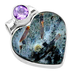 13.15cts natural bronze astrophyllite (star leaf) heart silver pendant t13494