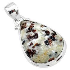15.08cts natural bronze astrophyllite (star leaf) pear 925 silver pendant t18603