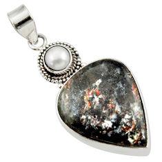 24.00cts natural bronze astrophyllite (star leaf) pearl silver pendant d42025