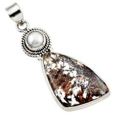 21.45cts natural bronze astrophyllite (star leaf) pearl silver pendant d42027