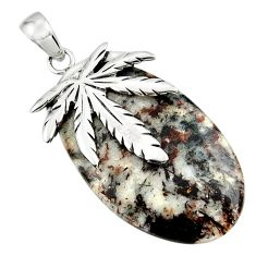 34.85cts natural bronze astrophyllite 925 silver deltoid leaf pendant d45535