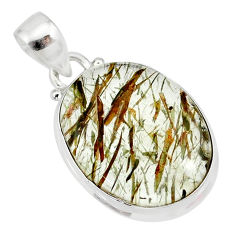 13.67cts natural bronze tourmaline rutile 925 sterling silver pendant r85208