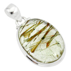 14.23cts natural bronze tourmaline rutile 925 sterling silver pendant r85209