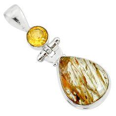 12.22cts natural bronze tourmaline rutile citrine 925 silver pendant r87703