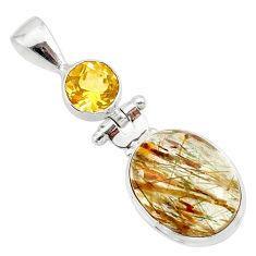 12.58cts natural bronze tourmaline rutile citrine 925 silver pendant r87715