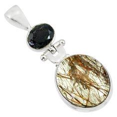 14.23cts natural bronze tourmaline rutile onyx 925 silver pendant r87727