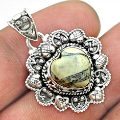 5.16cts natural bronze wild horse magnesite 925 silver heart pendant t56212