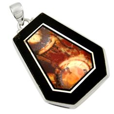 Clearance Sale- 50.90cts natural bronze wild horse magnesite 925 sterling silver pendant d42805