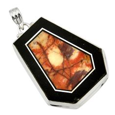 Clearance Sale- 51.45cts natural bronze wild horse magnesite 925 sterling silver pendant d42807