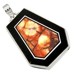 Clearance Sale- 49.59cts natural bronze wild horse magnesite 925 sterling silver pendant d42810