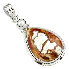 19.89cts natural bronze wild horse magnesite pearl 925 silver pendant r20107
