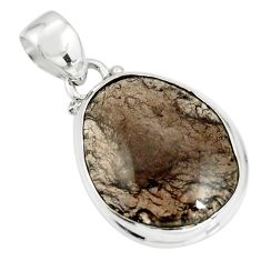 14.72cts natural brown agni manitite 925 sterling silver pendant jewelry r20755