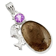 Clearance Sale- 22.57cts natural brown agni manitite amethyst 925 silver fish pendant d45520