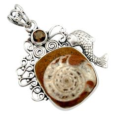 19.56cts natural brown ammonite fossil 925 silver fish pendant jewelry d46702